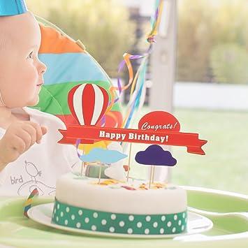 LUOEM Happy Birthday Cake Toppers Nette Kuchendeckel Heissluftballon Wolken Design Papier Kuchen Dekorationen Fur Geburtstagsfeier 11 Stucke