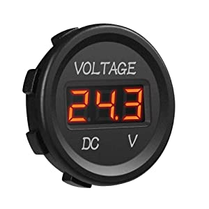 MICTUNING J0001L DC 12V LED Display Voltmeter Waterproof for Boat Marine Vehicle Motorcycle Truck ATV UTV Car Camper Caravan Red Digital Round Panel