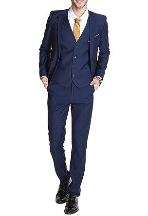 traje formal de 3 piezas de corte ajustado, Para hombre