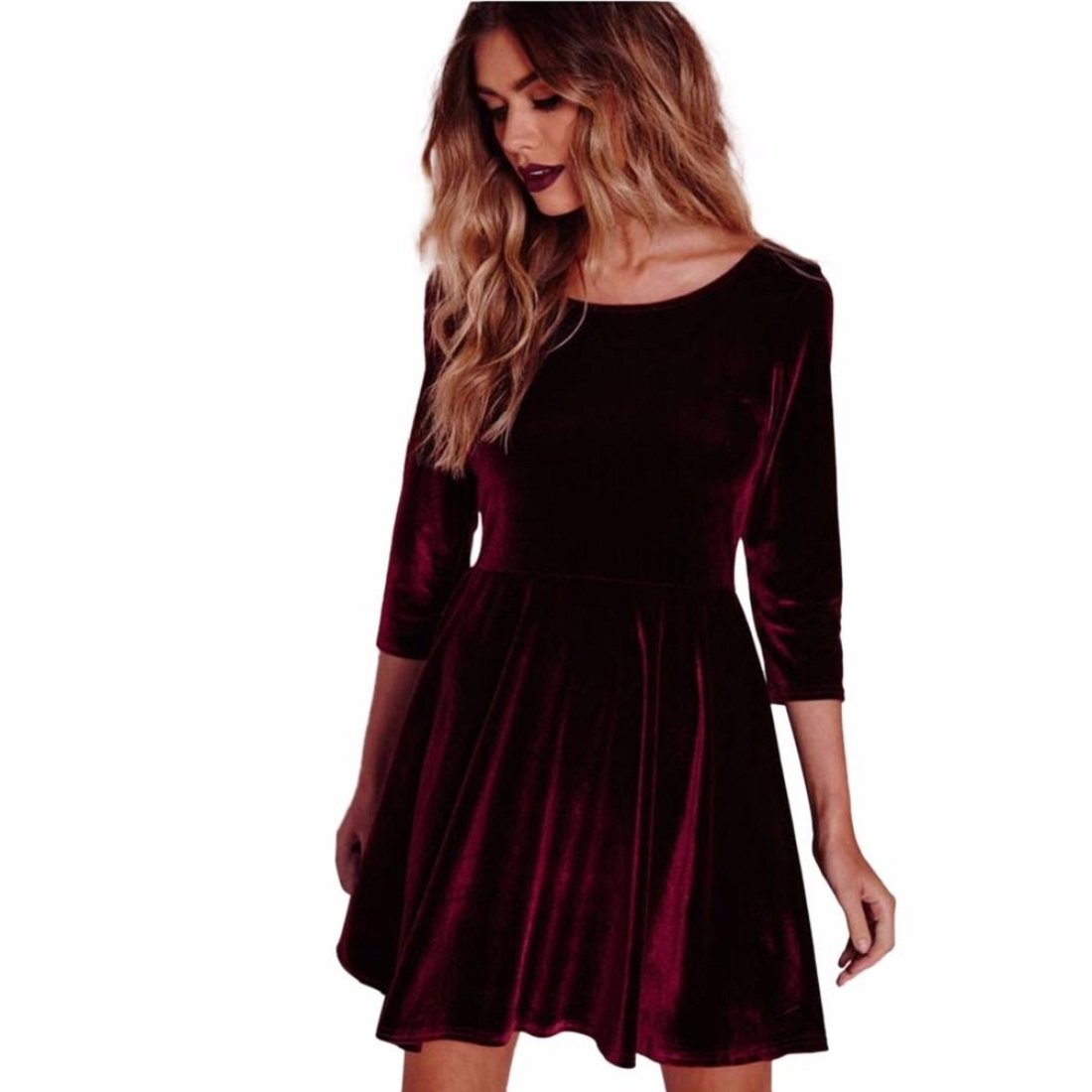 GONKOMA Women Dress Round Neck Velvet Dress Three-Quarters Sleeve Dress XWJ520