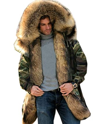 ab5f275f667 Roiii Mens Winter Warm Thick Faux Fur Waterproof Outdoor Hood Parka Long  Trench Jacket Over Coat Plus Size S-3XL at Amazon Men's Clothing store:
