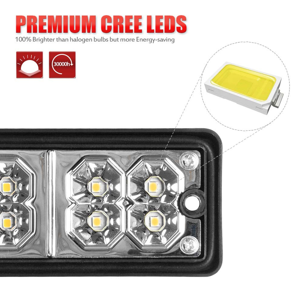 SS VISION 20 LED Trailer Tail Lights Bar 2 Pack 4350421689 Waterproof DC12V 5 Wires Red-Amber-White Turn Signal and Reverse Lights for Truck