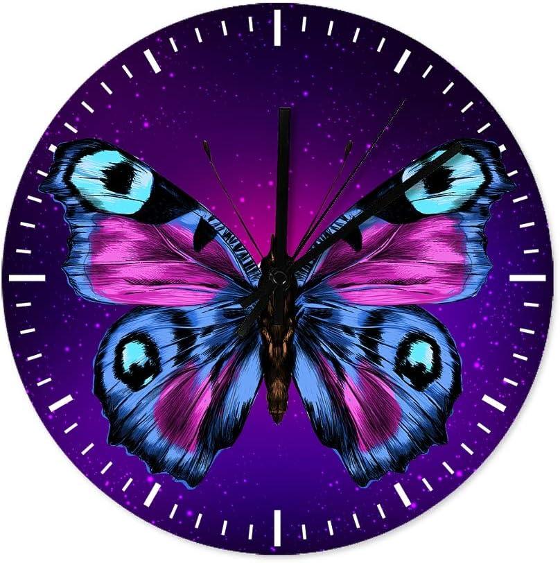 Reloj de pared redondo de madera Jeffers, diseño de mariposa, silencioso, sin tachuelas, para decoración del hogar, madera, Blanco, 30x30cm