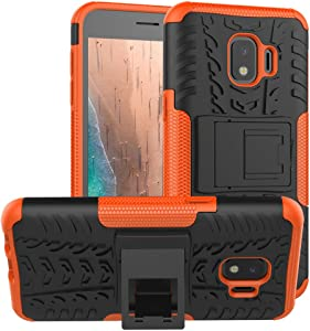 Galaxy J2 Case,Galaxy J2 Core/J2 Dash/J2 Pure/J260/J2 Shine case,PUSHIMEI with Kickstand Hard PC Back Cover Soft TPU Protection Phone Case Cover For Samsung Bench/Galaxy J2 2019(Orange Kickstand case)