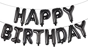 Happy Birthday Balloons, Aluminum Foil Banner Balloons for Birthday Party Decorations and Supplies (Black)