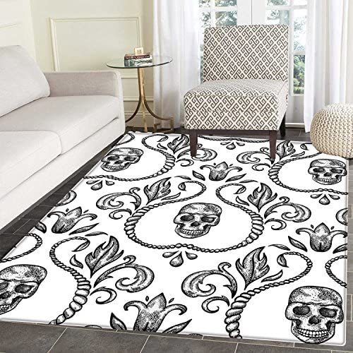 Gothic Decor Dining Room Home Bedroom Carpet Floor Mat Ornament with Skull Goth Skeleton Floral Design in Baroque Style Illustration Non Slip Mat 5 x6
