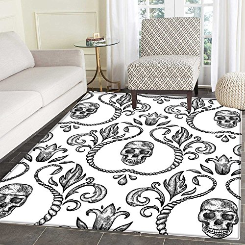 Gothic Decor Area Mat Carpet Ornament with Skull Goth Skeleton Floral Design in Baroque Style Illustration Living Dinning Room and Bedroom Mats 3'x4'