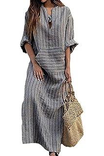 7afcdc5dc4b5 Simgahuva Womens Linen Maxi Dress Cotton Stripes Shift Dresses Plus Size  with Pocket