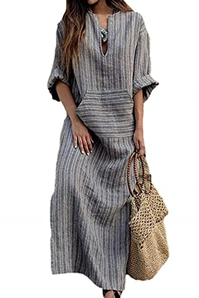 Simgahuva Womens Linen Maxi Dress Cotton Stripes Shift Dresses Plus Size  with Pocket