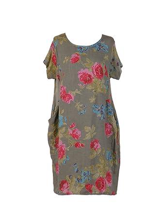 7926173b102 New Ladies Italian Linen Floral Pocket Dress Women Lagenlook Dress Plus  Sizes (Khaki)  Amazon.co.uk  Clothing