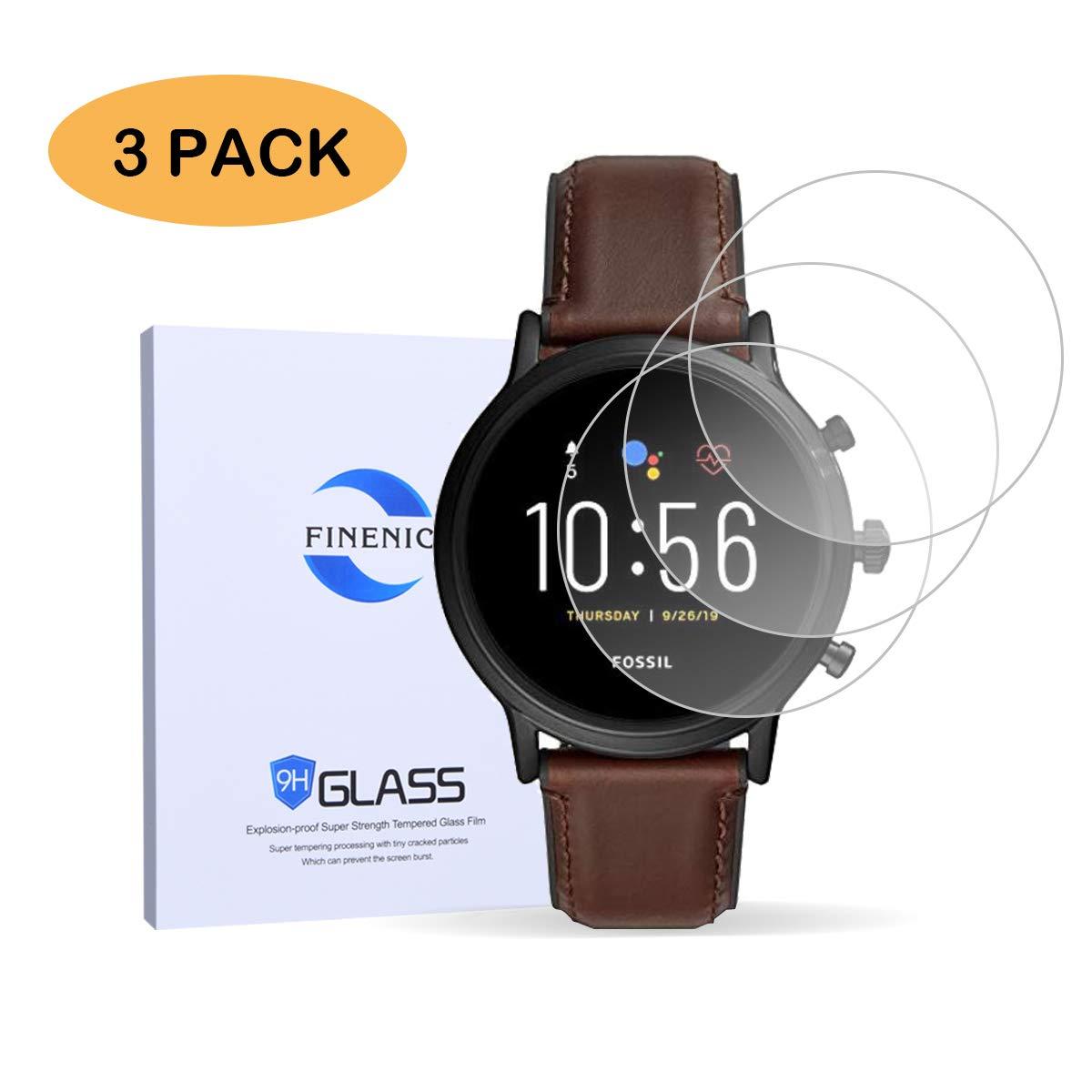 FINENIC Fossil Gen 5 Carlyle HR Smartwatch Tempered Glass Screen Protector 【37.5mm Diameter】【3 PCS】
