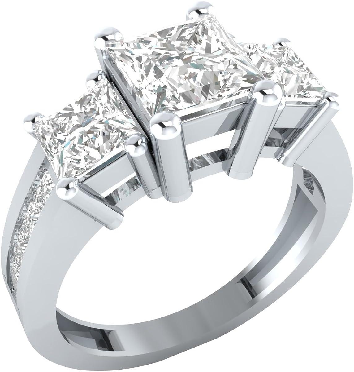Demira Jewels 14k Solid White Gold Princess Cut Cz Cubic Zirconia Three Stone Engagement Ring Amazon Com