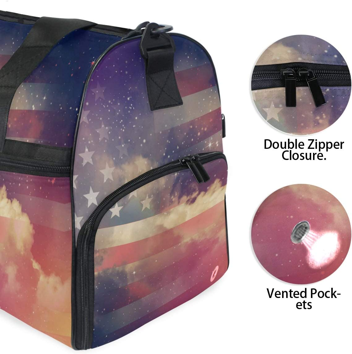 TFONE Galaxy Starry Night American Flag Duffel Bag Sports Gym Weekend Bags with Shoe Compartmen