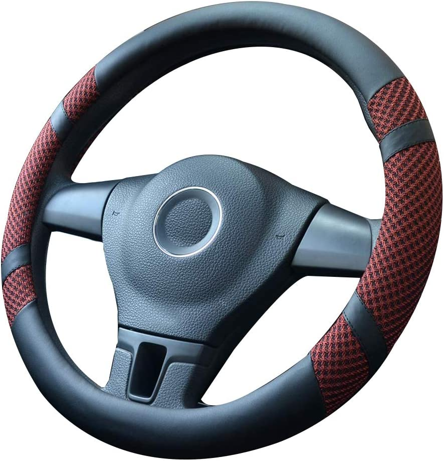 Non-Slip Breathable SHIAWASENA Auto Car Steering Wheel Cover Black/&Wine Red Universal 15 Inch Fit Microfiber Leather