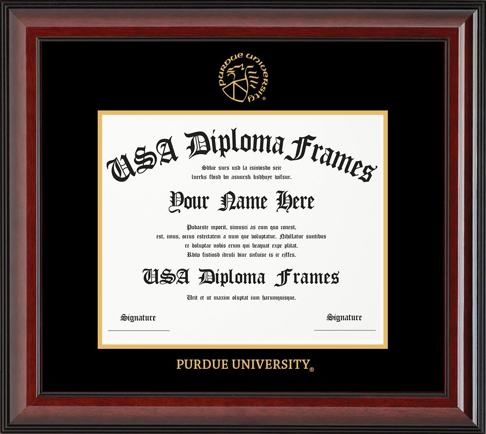 Purdue University Diploma Frame - Cherry Glossy with Black Suede Matting