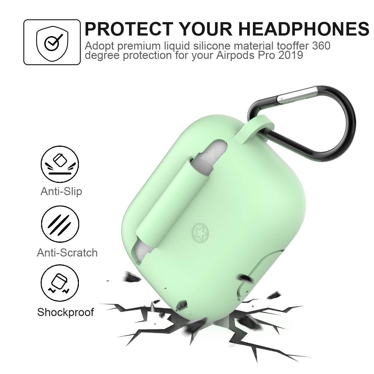 Supporta la ricarica wireless Copertura Protettiva in Silicone per AirPods Pro-Black LED anteriore visibile Happon per AirPods Pro Custodia in Silicone Skin Case Compatibile Custodia