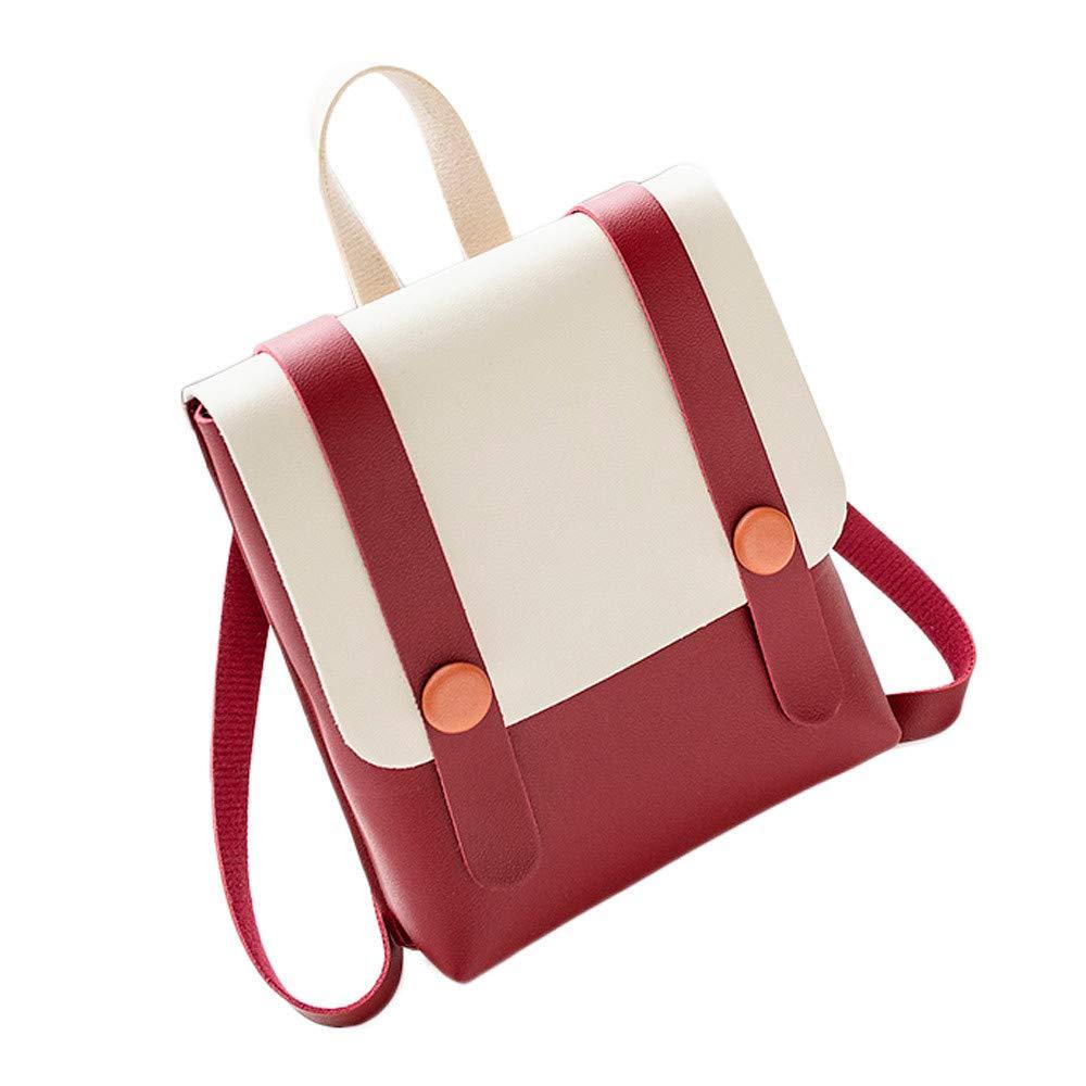 Bellelove Fashion Women Girl Hit Color Leather Backpack Ladies Simple Cute Mini Backpack Student School Backpack Shoulder Bag