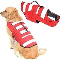 Orange Balacoo Dog Life Jacket Doggy Flotation Device Adjustable Ripstop Pet Preserver Lifesaver with Superior Buoyancy and Rescue Handle for Summer