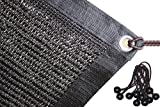 Jesasy 70% Sunblock Shade Cloth with Grommets for Garden Patio 10ft X 12ft Black+FREE 10pcs 6'' BALL BUNGEE