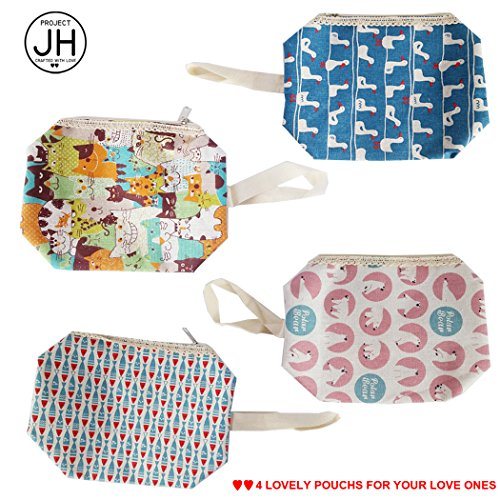 Small Cosmetic Makeup Bags for Women & Teens - 4 Korean Design Fabric - Fabric Korean