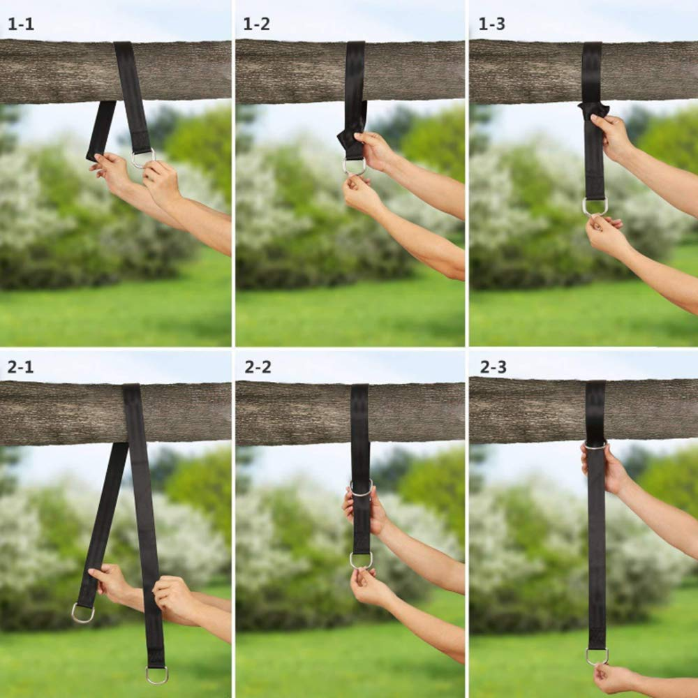 Extra long 150cm Hammock Straps Anti-wear Slings Load Capacity 800kg with Safety Lock Nylon Straps Set Of 2 and Black Outdoor Swing Straps Suitable for Outdoor Camping Hammocks and Swings