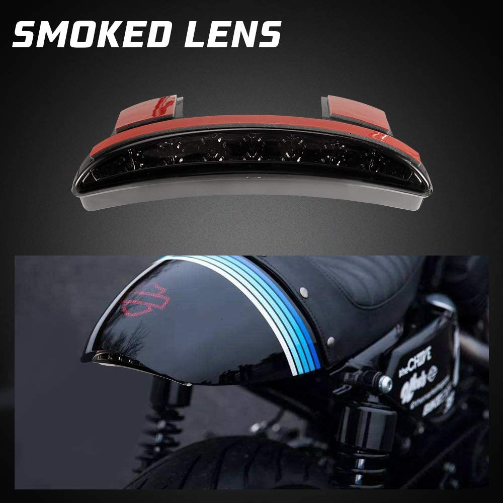 BUNKER INDUST Motorcycle Chopped Fender Edge LED Tail Light Smoked Rear Stop Running Brake Compitable for Harley Sportster XL 883N 1200N XL1200V XL1200X