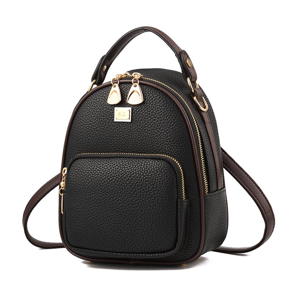 Gashen Women's Mini PU Leather Backpack Purse Casual Drawstring Daypack Convertible Shoulder Bag (black) by Gashen