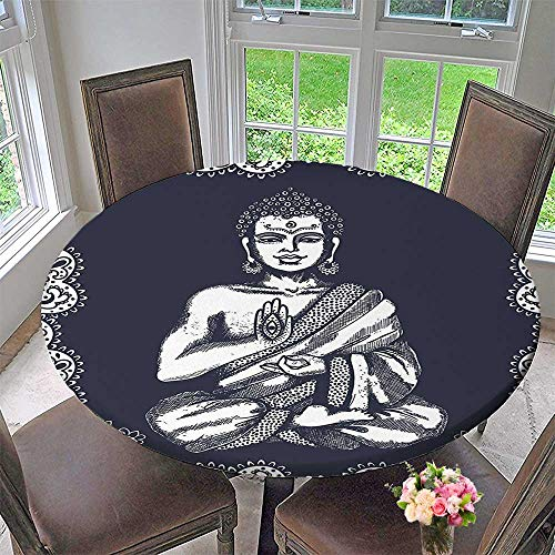 Luxury round table cloth for home use Decor Collection Chakra Aura Harmony Retro Design Traditional Tribal Symbol Print Accessories Navy for Buffet Table, Holiday Dinner 35.5