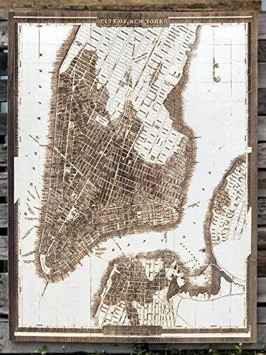 City of New York - 1833 wood engraved map by Fire & Pine