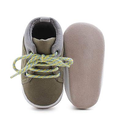 0fe4bf6f61d21 DELEBAO Chaussons Bébé Cuir Souple Chaussure Cuir Bébé Chaussures Premiers  Pas Chaussure de Marche Bébé Bottine