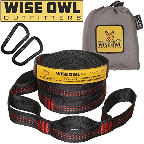 Wise Owl Outfitters Hammock Straps Combined 20 Ft Long, 38 Loops with 2 D Carabiners - Easily Adjustable Tree Friendly Must Have Accessories & Gear for Hanging Camping Hammocks Like Eno Red Stitch