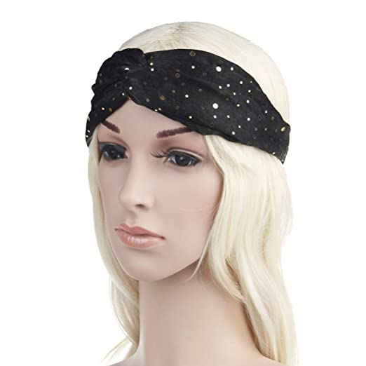 9be8effe0cc6 Transer Women s Headbands Sequins Headwraps Elastic Head Wrap Hair Bands  Accessories (Black)