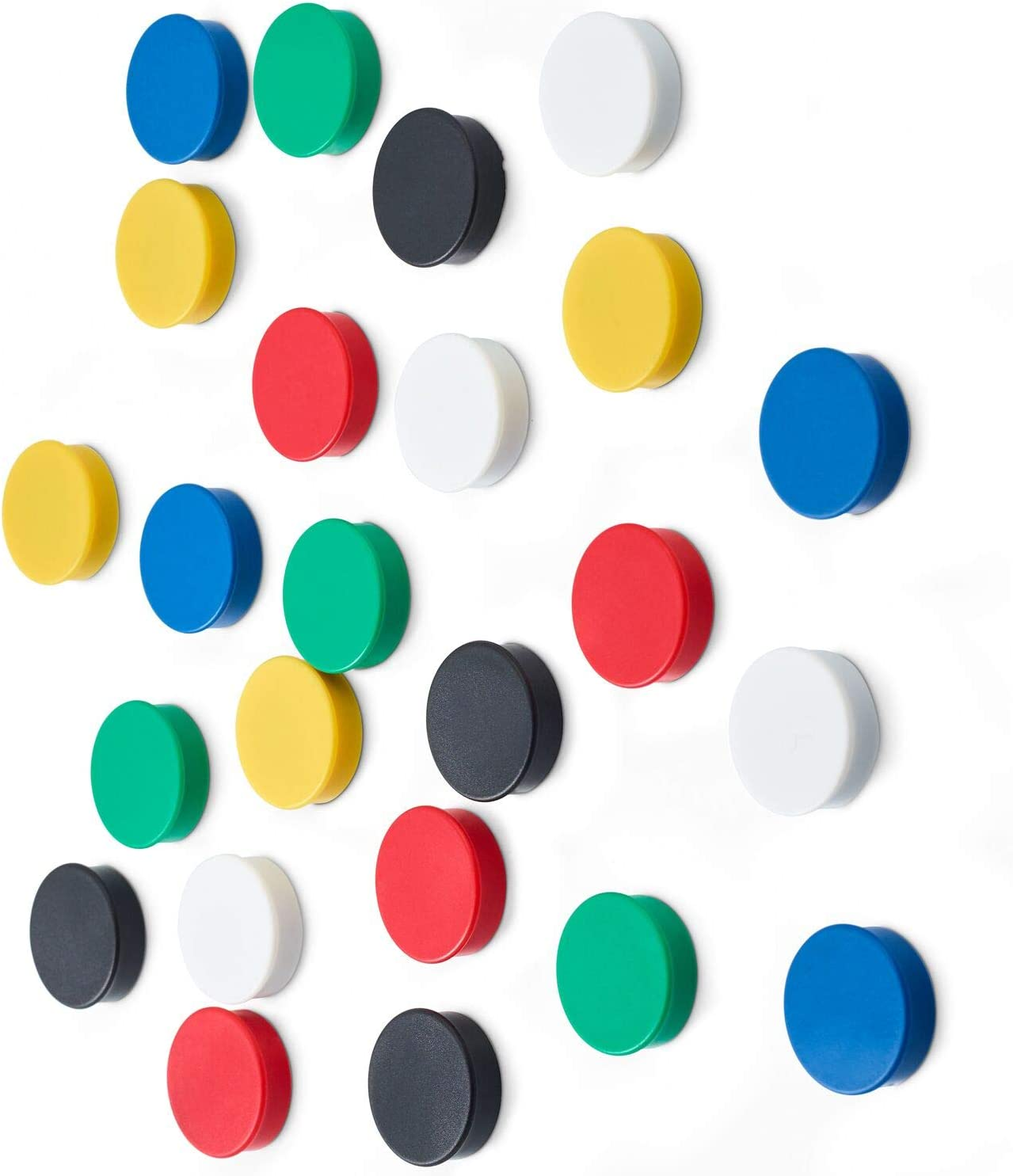 Scribble 1 Inch Office Magnets (24 Pack), Colorful Round Refrigerator Magnets, Perfect for Whiteboards, Lockers & Fridge. Assorted Colors: Red, Blue, Green, Black, Yellow & White.