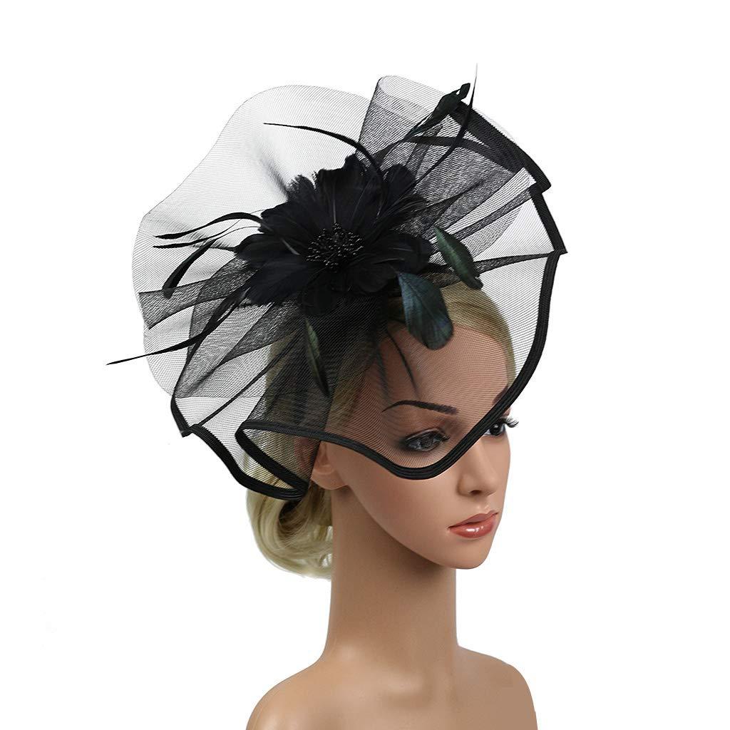 Kentucky Derby Fascinators for Women Sinamay Tea Party Hat Cocktail Headpiece Flower Mesh Feathers Headband Hat Black-AD by Merya Dress (Image #4)