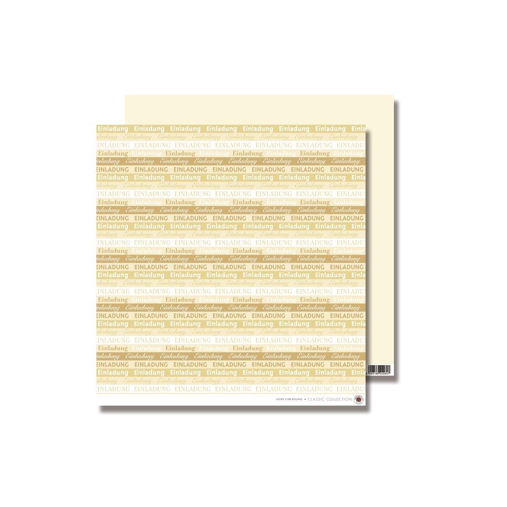 Rayher-Scrapbooking Paper 79305104: 'Einladung' (Invitation), 30.5 x 30.5 CM 190 g / M ², elfenbein