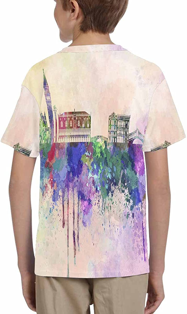 XS-XL INTERESTPRINT Venice Skyline in Watercolor Youth Crew Neck T-Shirt