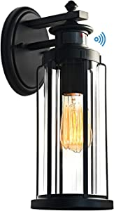 MOTINI Outdoor Wall Lantern Lamp with Motion Sensor Waterproof Exterior Wall Sconce Lighting Fixture with Clear Ribbed Glass Shade Wall Mount Light for Garden, Patio, Porch, Bulb Included