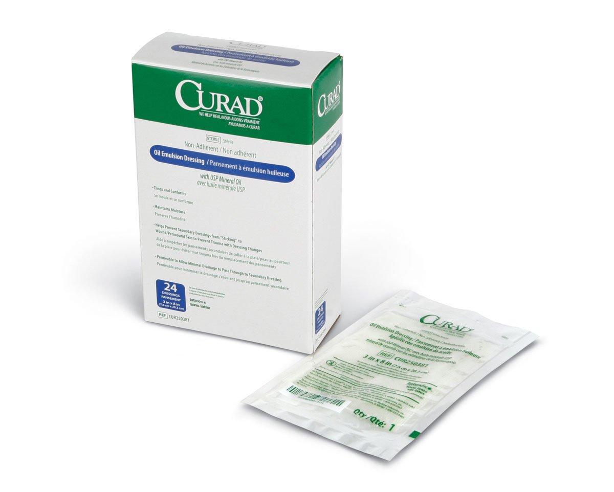 CURAD Sterile Oil Emulsion Non-Adherent Gauze, 3''X8'', 24 per Pack (6 Packs Total) by Medline