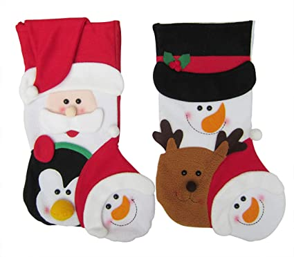8f1a5904799 Image Unavailable. Image not available for. Color  Bellcon Christmas  Stocking Socks Luxury 3D Santa Claus Snowman Hanging Gift Bags 2 Pack Xmas  Plush