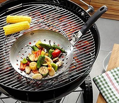 "GEFU BBQ Premium Barbecue 11"" Vegetable Wok, Detachable Handle"