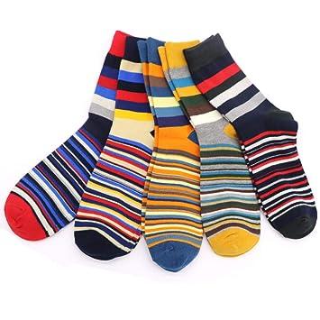 XMDNYE 5Pairs / Lot Calcetines De Hombre Calcetines De Rayas De Colores para Hombres Calcetines De Compresión Masculinos: Amazon.es: Deportes y aire libre
