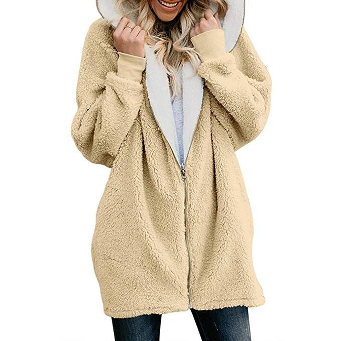 Abrigos de Mujer Cálido Vellón Moda Sólido de Gran tamaño Cremallera con Capucha Mullido Escudo Cardigans Outwear con Bolsillo: Amazon.es: Ropa y accesorios