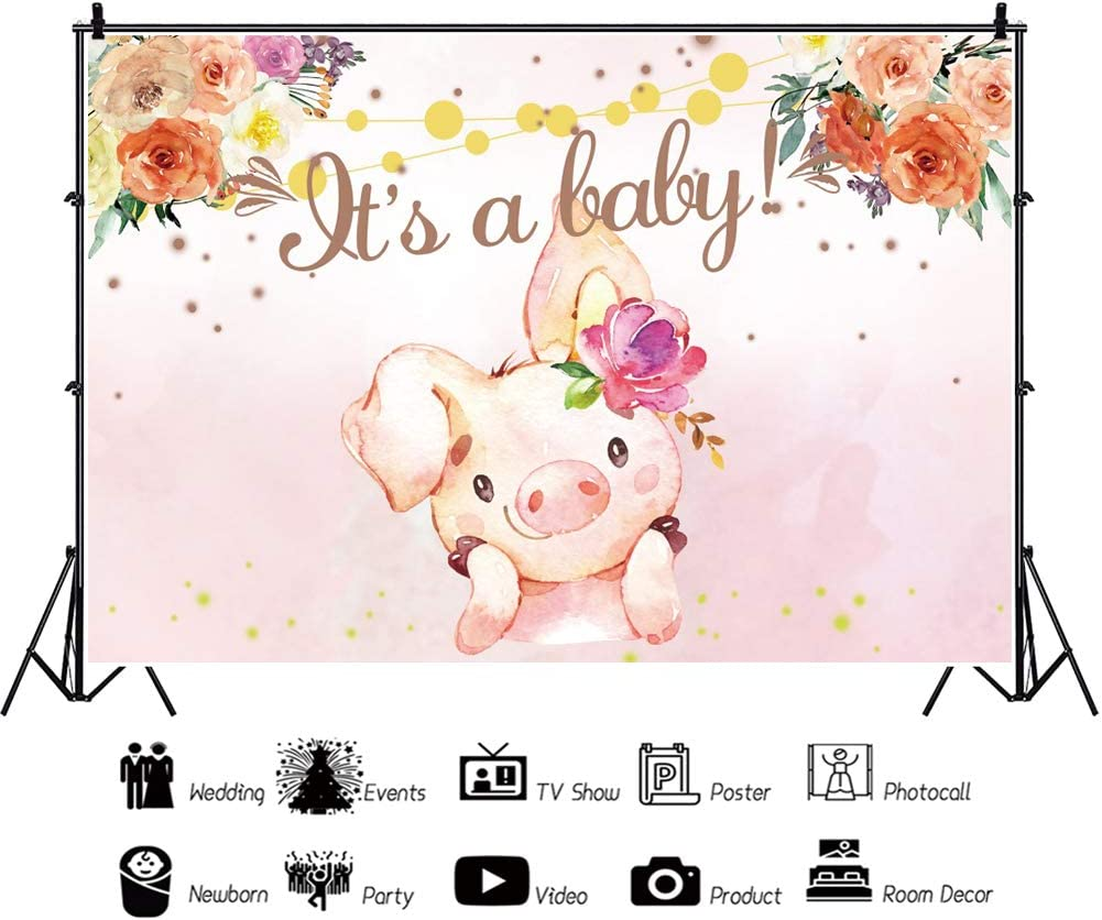 YongFoto 12x8ft Vinyl Backdrop for Baby Shower Home Party Celebration Little Cute Pig Colorful Flowers String Lights Baby Shower Floral Photography Background Newborn Baby Kids Portrait Photo Studio