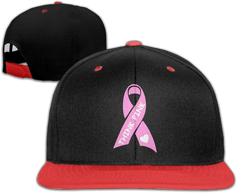 Think Pink with Ribbon Unisex Hip-hop Hats Snapback Hat Solid Flat Cap