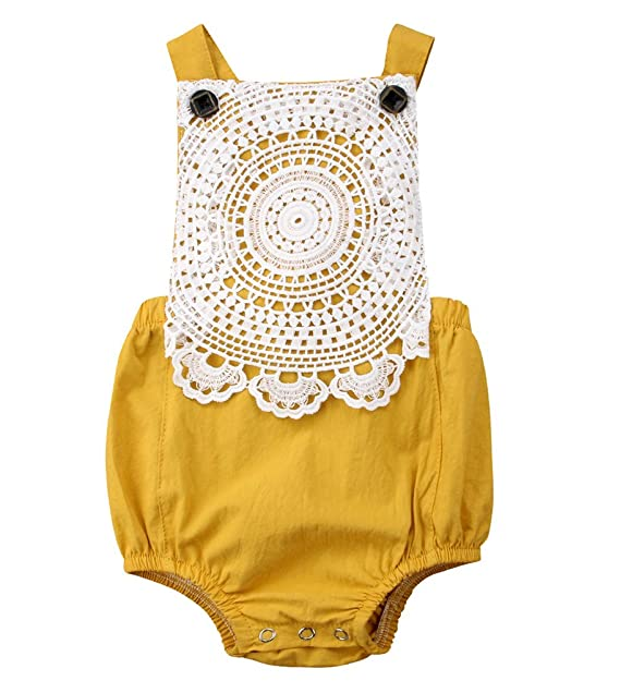 c6e8cbb6eb03 Amazon.com  Emmababy Newborn Baby Girls Lace Flower Backless Romper ...