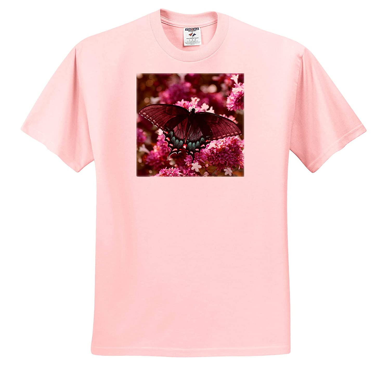 Photo of a Female Tiger Swallowtail on an abelia Bush in Pink and Teal Insects T-Shirts 3dRose Stamp City