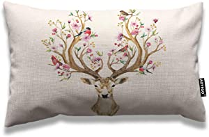 AOYEGO Antler Throw Pillow Cover 12x20 Inch Deer with Flowers Birds on Horns Like Tree Branches Cherry in Spring Rectangle Pillow Cases Home Decorative Cotton Linen Cushion Cover for Bed Sofa Brown