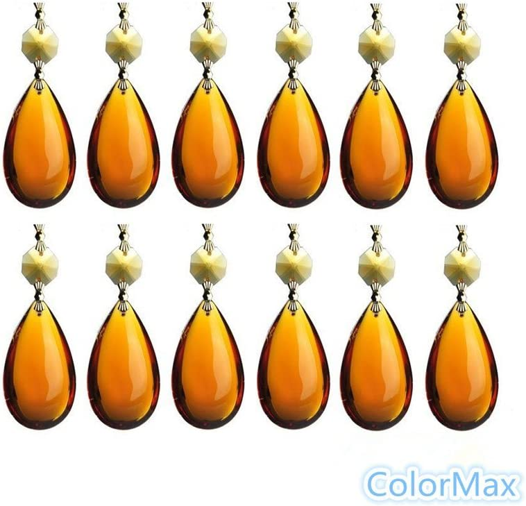 ColorMax–Lote de 50mm de cristal en forma de lágrima colgante con perlas de OCTAGON pajarita conector Chandelier Prismas Piezas (ámbar)