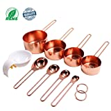 Copper Stainless Steel Measuring Cups and Spoons set of 8. Professional Stainless Steel Cookware Tools to Measure Liquid and Dry Ingredients in your Kitchen. Free Egg Separator