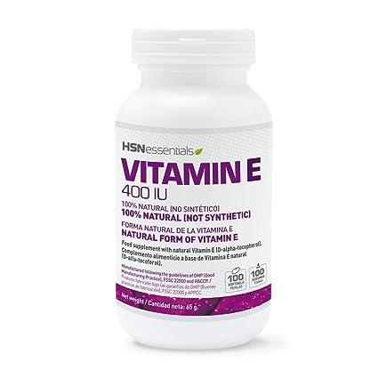 Vitamina E de HSN Essentials - D-Alfa-Tocoferol, Antioxidante Natural, reduce